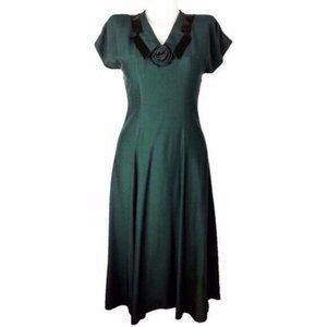 Wild Rose [4] VINTAGE 80's USA Green Shirt Dress
